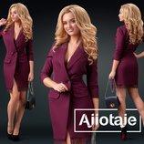 Эффектное деловое платье-пиджак с кружевным подолом 24214цвета
