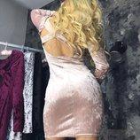 Платье Ткань-Велюр мраморный