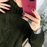 Женский теплый вязаный свитер гольф узор косы под горло Soft арт.468 скл.10