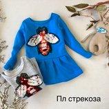 Теплое платье-туника пайетки перевертыши Стрекоза