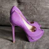 37-38р Замша,кожа Новые Cosmoparis Франция,сиреневые туфли на платформе и каблуке
