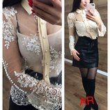 Блуза Фабричный Китай Люкс качество ткань шифон набивное кружево украшена жемчугом топ в комплек