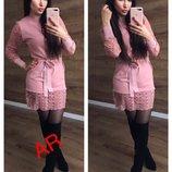 Платье Люкс качество ткань машинная вязка кружево