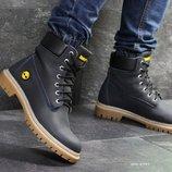 Timberland ботинки мужские зимние кожа темно синие 6949