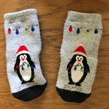 12-18 мес новогодние носочки, внутри махровые, пингвины