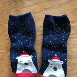 24-36 мес новогодние носочки, внутри махровые, белый медведь мишка Умка