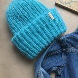 Такори вязаная шапка вязанная шапка зефирная зефирка мятная мята
