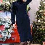 Теплое платье-гольф трикотажное Эмбра до 60 р. синее
