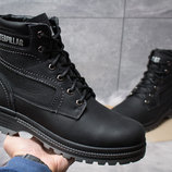 Зимние кожаные ботинки на меху CAT Caterpillar Anti-Glide Black-Grey