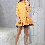 Короткое платье с фатином, Размер 42, 44, 46.