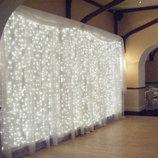 Гирлянда светодиодная водопад LED 480 лампочек, 3м x 2 м белая