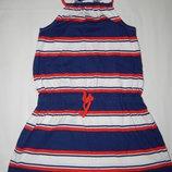 Трикотажное платье Next в бело-сине-красную полоску. На девочку 8 лет. Рост 128 см.