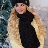 Зимний комплект, черный, шапка на флисе и шарф