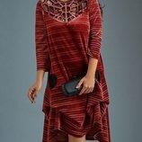 Платье большого размера 62 бархат плиссе