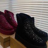 Теплые,удобные и симпатичные меховые ботинки р.36,37,38,39,40,41. В наличии черные,бордовые,серые