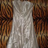 Супер платье серебристое karen millen р.8,60%вискоза,40%пол-р
