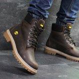 Зимние мужские ботинки Timberland dark brown, кожа