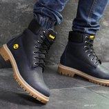 Зимние мужские ботинки Timberland dark blue, кожа