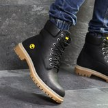 Зимние мужские ботинки Timberland black, кожа