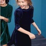 Синее бархатное платье Next для девочки 5 лет