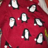 новогодний красный свитер пингвин