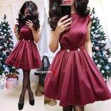 женское нарядное атласное платье с пышной юбкой мг 8924