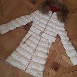 Mao Mao unico пуховик зимний пальто куртка капюшон пух перо, XL, натуральный мех