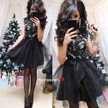Нарядное платье с атласным поясом 655