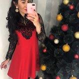 Оригинальное красное платье с кружевом ришелье