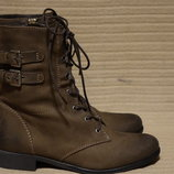 Стильные утепленные коричневые кожаные полусапожки SPM shoes Голландия 41 р.