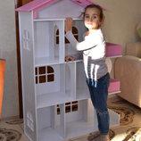 Деревянный кукольный домик с мебелью 1104 розовый