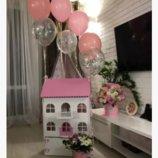 Деревянный кукольный домик с мебелью и яшиком 1103 розовый