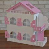Деревянный кукольный домик с мебелью 1102 розовый