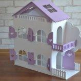Деревянный кукольный домик с мебелью 1102 фиолетовый