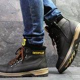Caterpillar ботинки кожа мужские зимние черные 6956