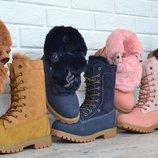 Ботинки Waterproof натуральная опушка детские зимние на шнуровке сапоги
