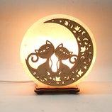 Соляной светильник круглый Коты