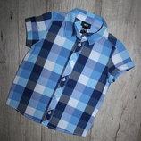 Нарядная красивая шведка рубашка синяя клетка H&m 3-4 года, рост 98-104 см.