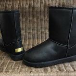 40,41р 42р 43р 44р 45р 46 р Угги UGG черные мужские и женские ботинки дутики эко кожаные эко кожа