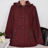 Бордовое демисезонное пальто с капюшоном и кожаными вставками george вьетнам