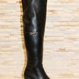 Сапоги ботфорты женские зимние черные на каблуке натуральная кожа С617