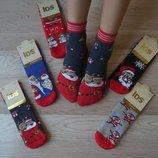 Новогодние махровые носочки носки для мамы и ребенка фирмы IDS