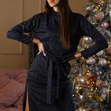 Платье миди с горлом и разрезами ангора с люрексом
