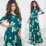 Вечернее платье макси Цветы с поясом 6 цветов рукав 3/4 юбка солнце с вырезом декольте от р40 по р46