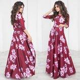 Вечернее платье макси Цветы с поясом 3 цвета рукав 3/4 юбка солнце с вырезом декольте р40 по р46