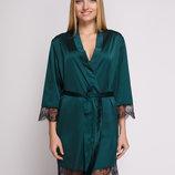 Зеленый халат Serenade 501 с черным кружевом шелковое домашнее белье