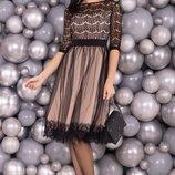 Кружевное платье миди романтический образ хс, с,м,л