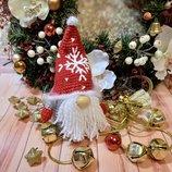 Мягкая игрушка новогодний рождественский вязаный гном гномик декор