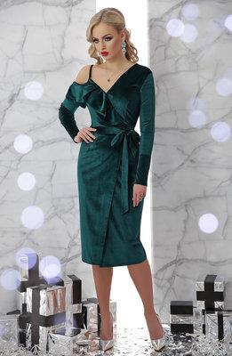 Шикарное вечернее бархатное велюровое платье с запахом Валерия д/р скл.2