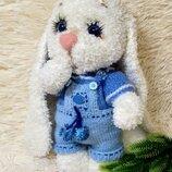 Мягкая игрушка ручной работы вязаный зайчик зая зайка интерьерная игрушка